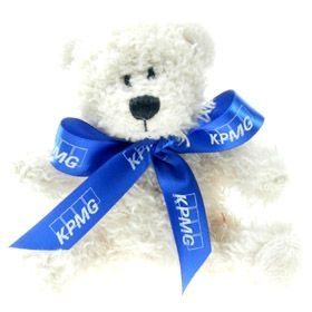 10 cm Snowy Beanie Bear with Bow